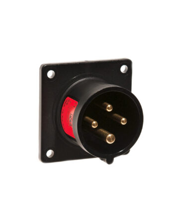 16a 4 Pin Panel Inlet Black Pce 614 6xs