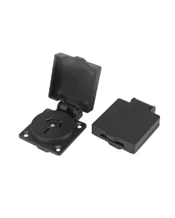 Showtechnix 10amp Black Panel Socket with Flap