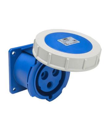 Pce 3232 6 3 Pin Panel Socket 32a Ip67 Blue